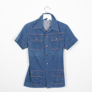 Vintage 70s WRANGLER Denim Tunic Top 1970s Overalls Work Shirt Coverall Uniform Top Snap Button Blue Jean Blouse Western Shirt XS S Small M