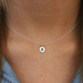 Tiny Cancer Ribbon Necklace -Sterling Silver Cancer Awareness Ribbon Charm Necklace -Cancer Ribbon Necklace -Breast Cancer Awareness Jewelry