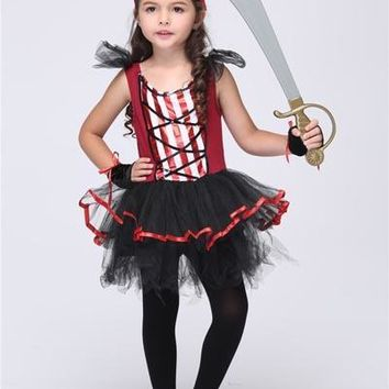 3-11Y Girls Pirate Dresses 2017 Halloween Pirate Costumes Party Cosplay for Children Kids Performance Clothes Anime Cos Outfits