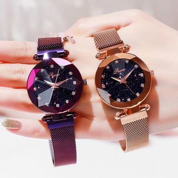 Luxury Rose Gold Women Watch With Magnetic Strap