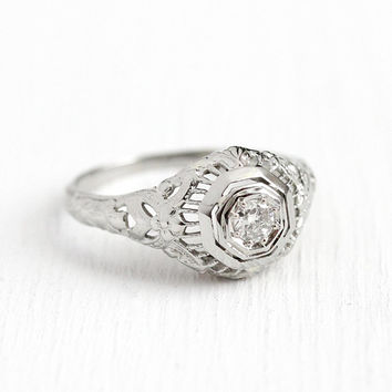 Filigree Engagement Ring - Vintage 14k White Gold Art Deco .13 CT Diamond Solitaire - 1920 Size 6 1/4 Antique Floral Flower Fine Jewelry