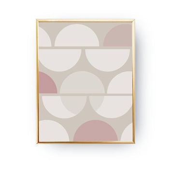 Pink Pastel Circles, Abstract Shapes, Pastel Decor, Textured Shapes, Minimalist Poster, Geometric Textures, Horizontal Circles, Simple Art