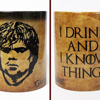 Game of Thrones Color Changing Mug Tyrion I Drink & I Know Things Quote Guy Gift Magic Mug Game of Thrones Cup Gift for Boyfriend Coffee Mug