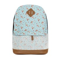 CrazyPomelo Sweet Lace Little Flowers Cotton Cloth & PU Backpack (Light blue)