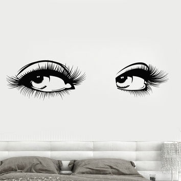 Vinyl Wall Decal Sexy Women's Eyes Eyelashes Girl Beauty Salon Stickers Unique Gift (1270ig)