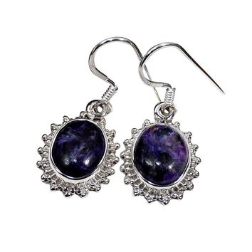 Sterling Silver Charoite Earrings