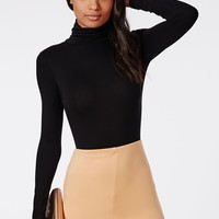 Missguided - Long Sleeve Turtle Neck Bodysuit Black