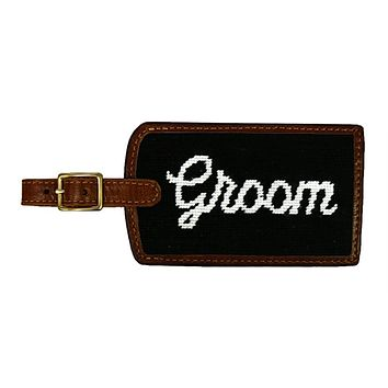 Groom Needlepoint Luggage Tag in Black by Smathers & Branson