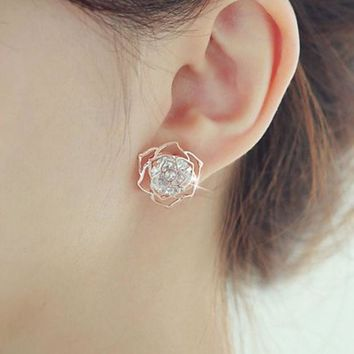 ONETOW 925 Silver Hollow Out Floral Korean Stylish Earrings [8740041479]