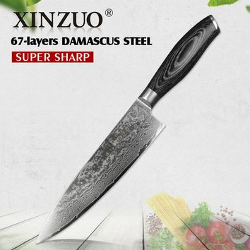 XINZUO 8 inches Chef Knife Gyuto Knife Japanese VG10 Damascus Kitchen Knives Stainless Steel Butcher Knife Pakka wood handle