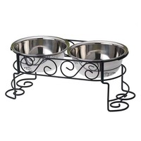 PetRageous Designs Suki's Scroll 5 1/2-in. Pet Feeder (Black)