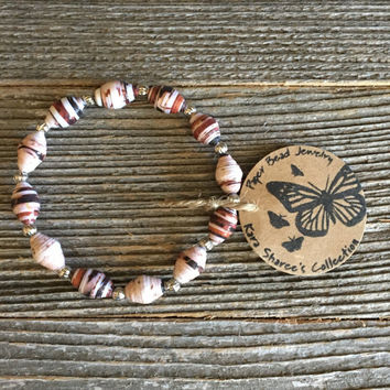 Paper Bead Bracelet, Black/Antique White/Rust Brown Beaded Bracelet, Paper Bead Jewelry, Stocking Stuffer, Gift for Women - Item# 062