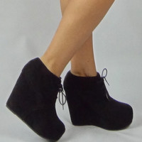 Suede Lace Up Wedge Booties - Black | .H.C.B.