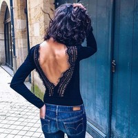 Autumn Women's Fashion Round-neck Long Sleeve Backless Lace Patchwork One-piece [1352340275316]