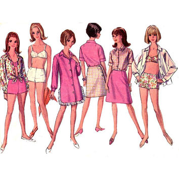 60s mod bikini swimsuit shirt or shift dress and wrap skirt vintage sewing pattern Simplicity 6972  Bust 38