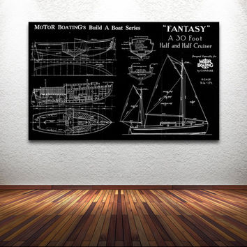 Vintage Print of FANTASY Runabout Diagram Line Drawing Schematic Blueprint Motor Build a Boat Series Ship Nautical NOAA Plan Art Giclee