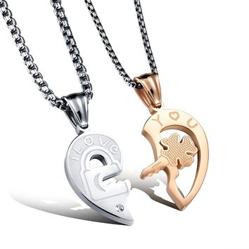 Fate Love His and Her Heart Key Matching Puzzle Stainless Steel Couples Necklace Valentine's Day Gift