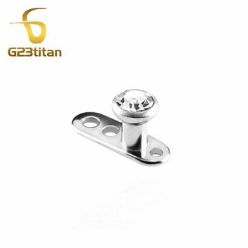 G23titan Crystal Dermal Anchor Titanium Piercing Eyebrow Ring Internally Threaded Dermal Anchor for Eyebrow Jewelry