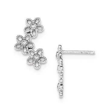 Sterling Silver Textured Flower With CZ Center Earrings