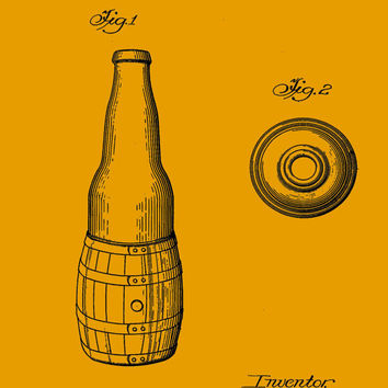 Beer Bottle Patent Print - Patent Poster - Beer Bottle - Bottle Patent - Faux Vintage