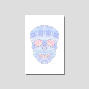 Sugar skull poster skeleton art mandala college dorm decor geometric artwork modern boho wall decor unframed print 5x7 purple blue red coral