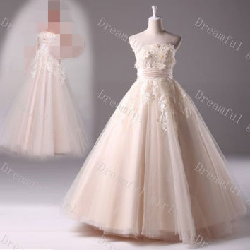 champagne color aesthetic dream tube top fluffy wedding dress the bride wedding dress