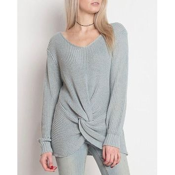 dreamers by debut - lightweight knot front pullover - blue