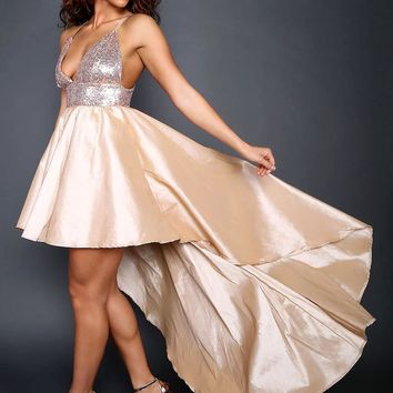Formal Sequin Hi Low Fit And Flare Rose Maxi Dress