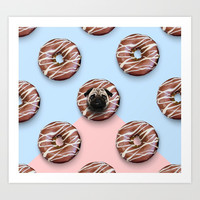 The Pug Donuts Art Print by lostanaw