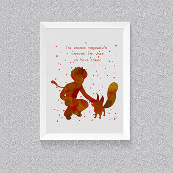 Watercolor Quote, Inspiration quote  Little Prince Fox, Literary Quotes, Wall Decor, Art Print,  Rustic Nursery Decor, Baby Shower Gift