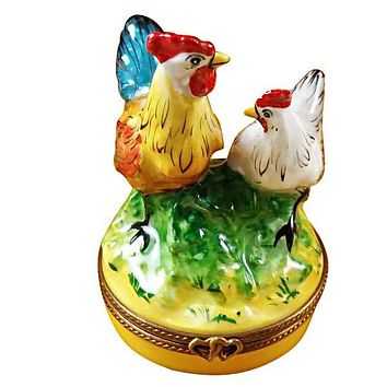 Rooster And Chicken Limoges Box