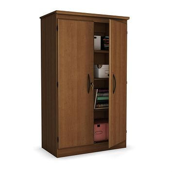 Cherry 2-Door Storage Cabinet Wardrobe Armoire for Bedroom Living Room or Home Office