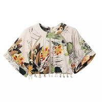 Women's Fashion Cotton Print Tassels Set Short Sleeve Tops Shorts Casual Bottom & Top [4918043012]
