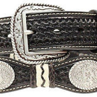 Ariat Men's Western Scalloped Concho Leather Belt & Buckle-Black