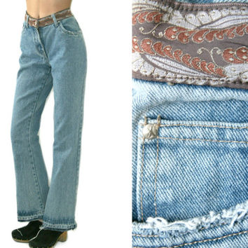 Vintage Flare Jeans~Size Medium~Waist 28~70s 90s High Waisted Bell Bottom Bootcut Blue Distressed Denim Pants~By Xhilaration