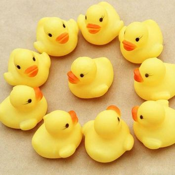 ICIKU7Q Hot  Baby toy Cute Small One Dozen (12) Bath toys shower water floating squeaky yellow rubber ducks baby toys water toys
