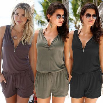 Fashion Women Sexy Zip Mini Playsuit Ladies Summer Beach Shorts Jumpsuit Romper Ladies Womens Solid Playsuits Rompers Clothing