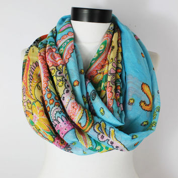 Turquoise boho Scarf,Navy Scarf,Infinity scarf,scarf,Boho scarf,Long scarf,Loop scarf,Women Scarf, Gift,Scarves,Scarf,Bohemian Scarf,