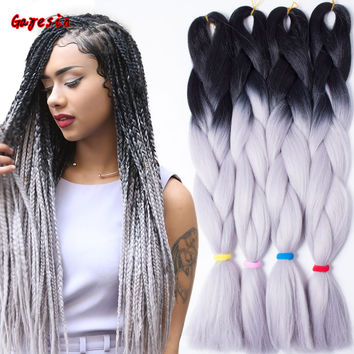 """24""""60CM Black Gray African Jumbo Braided Hair Ombre Braids Hair Twist Braids Hair Jumbo Synthetic Braiding Hair Extensions"""