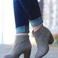Madelynn Perforated Bootie {Taupe}