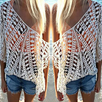 Loose Crochet Hollow Beach Shirt Top Tee