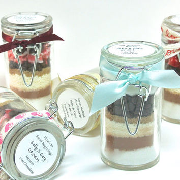Hot Chocolate Favor- 20 Mini Snap Top Glass Hot Cocoa Jars, Weddings, Bridal and Baby Shower, Anniversary Party, Bat Mitzvah Favor