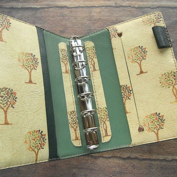 reserved - leather binder - trees - green - handstitched