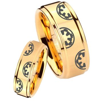 His Her Glossy Step Edges Star Wars & Galactic Empire 14K Gold IP Tungsten Wedding Rings Set
