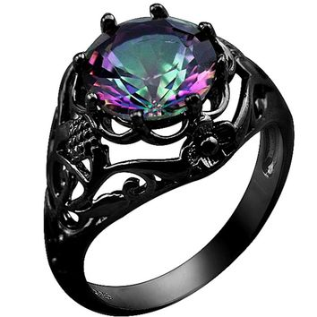 Luxurious Rainbow Mystic Fire Topaz 10KT Black Gold Filled Ring