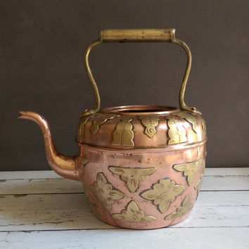 Rustic Copper Teapot/ Copper Tea Kettle/ Copper and Brass Teapot/ Copper Coffee Pot/ Large Copper Tea Pot