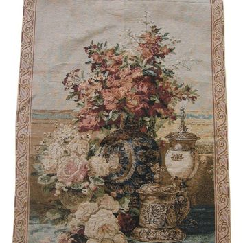 """DaDa Bedding Rose Radiance Floral Elegant Woven Fabric Baroque Tapestry Wall Hanging - 28"""" x 43"""""""