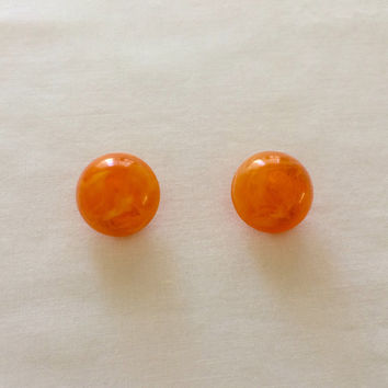 1950's Orange Marble Lucite Earrings ~ Clip On ~ West Germany ~ Estate Jewelry ~ Vintage 50s