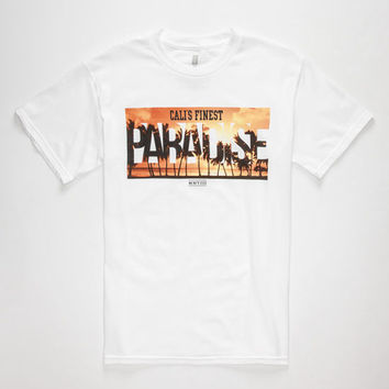 Cali's Finest Paradise Mens T-Shirt White  In Sizes