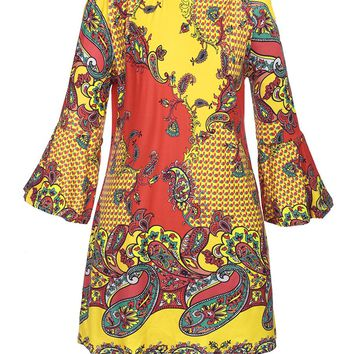 Casual Paisley Printed Off Shoulder Shift Dress With Bell Sleeve